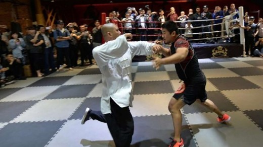 This is not a choregraphed fight from a movie.  This is an actual fight that took place in China. Maintaining face is extremely important in China and that the traditional master was defeated by their own countryman is a loss of that face to many.