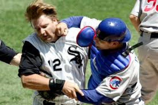 Barrett landed a huge blow on the Sox catcher as he rounded third and tried to score.