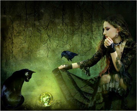 A witch depicted with her familiars.