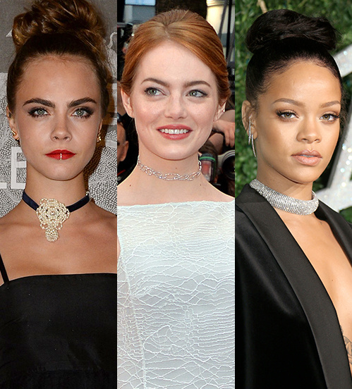 Cara Delevigne, Emma Stone, and Rihanna wore trendy chokers recently (2017).