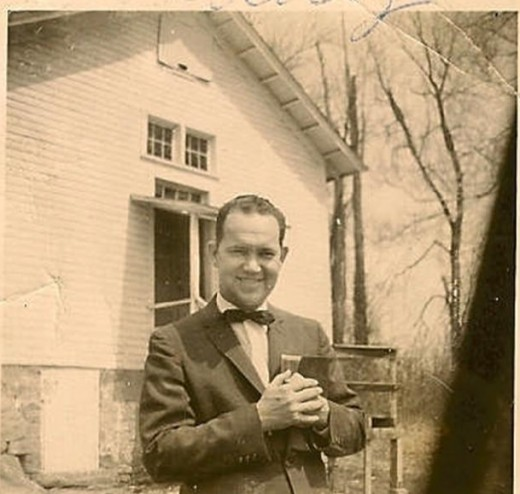 This photo of my father in front of my childhood church at Liberty Grove, Maryland, circa 1955.