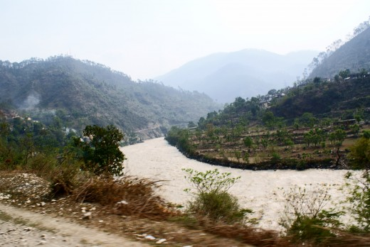 The river Ganga flowing through the Himalayas