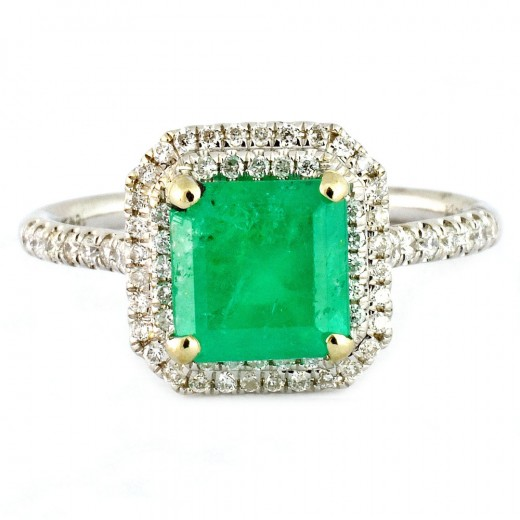 1.47ct Emerald and 0.28ct Diamond Ring