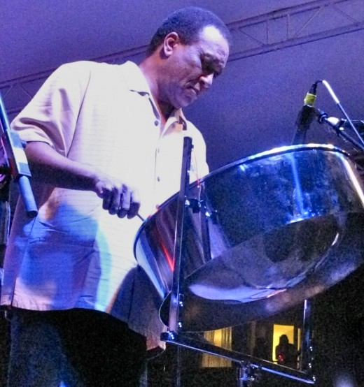 Robert Greenidge playing the steel drums
