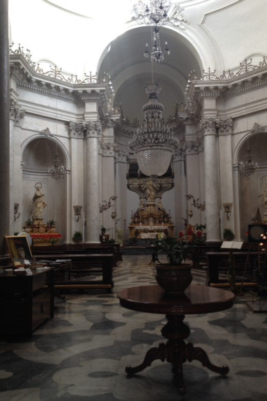 Interior of Baroque Church in Downtown Catania