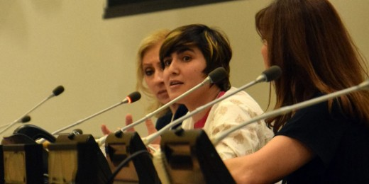 Maria Toorpakai speaks at UN Women's International Forum.