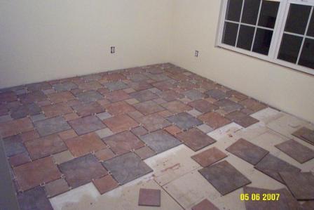 A flooring job in progress
