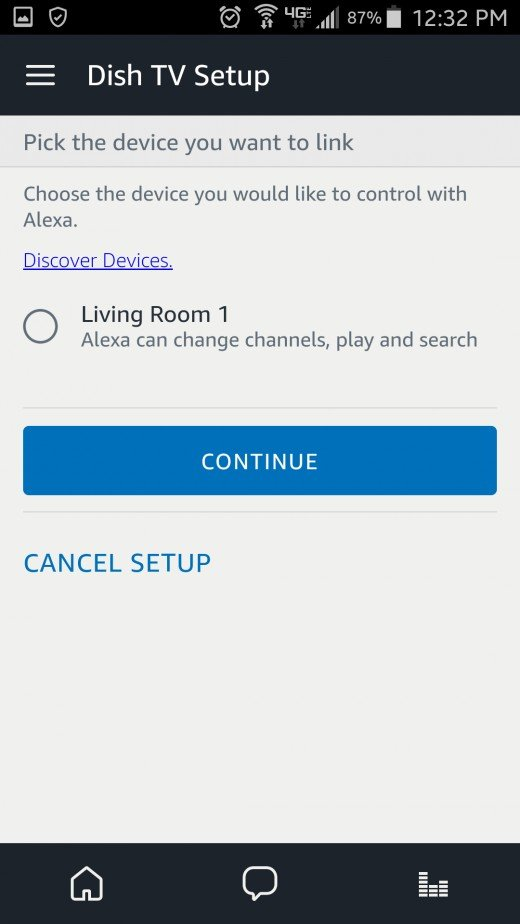 Now after returning to the Alexa app, device discovery should begin automatically and your Hopper will be detected. Select it and tap 'Continue.'