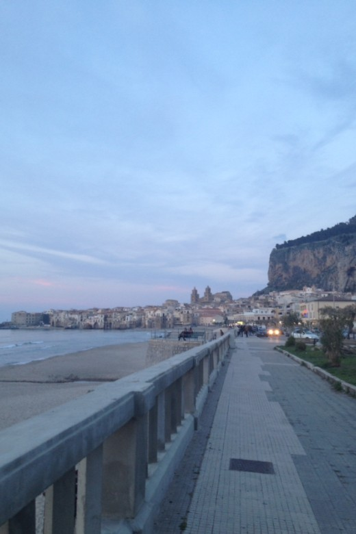 The Lungomare Towards Cefalu Old Town in the Evening