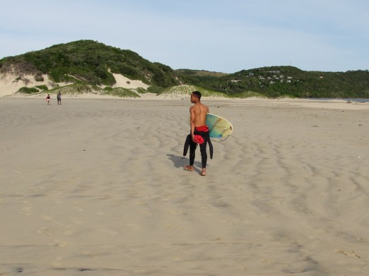 """Unstressed Surf School"" Pupil on way to surf - school is in!"