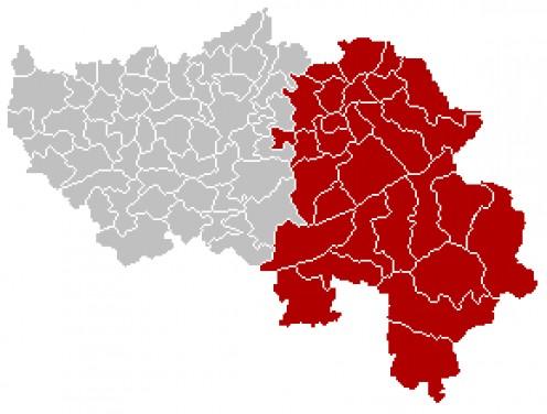 Map of Verviers 'arrondissement' in Liege province, Belgium