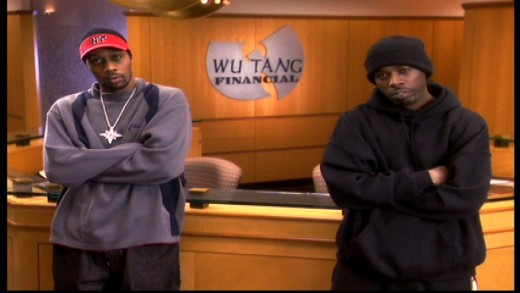 Members of popular group Wu-Tang Clan, advertising their fictional Wu-Tang Financial business in the Entrepreneurial Products & Services sketch. Image copyright of Comedy Partners.