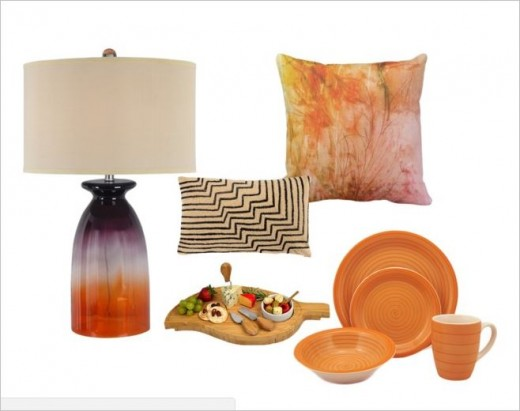 Warm peach sunset tropical colours in home decor