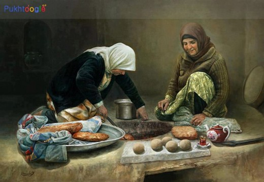 Women baking bread in conventional earthen tandoor.