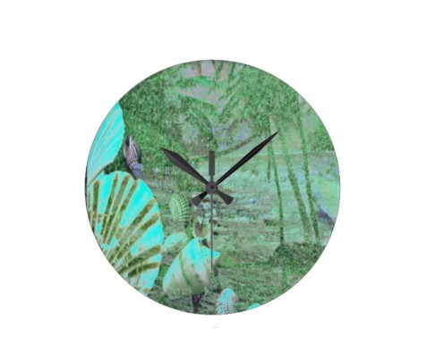 Cool Sea Green Wall Clock For Informal Family Room.