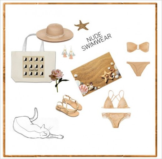 Cool nude colour swimwear for a day at the beach