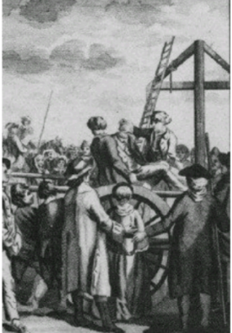A photo depicting public execution in Medieval Europe