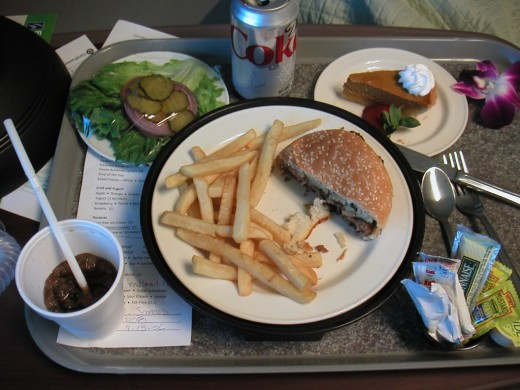 Hospital food should be appetizing, healthy, and fresh. Unfortunately the patient was too groggy to eat his lunch in the ICU.