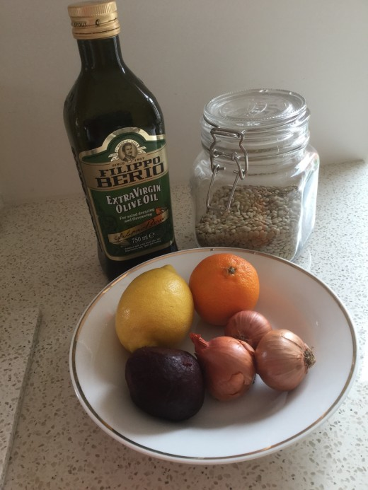 Ingredients for Citrus-Infused Lentil Salad with Beetroot