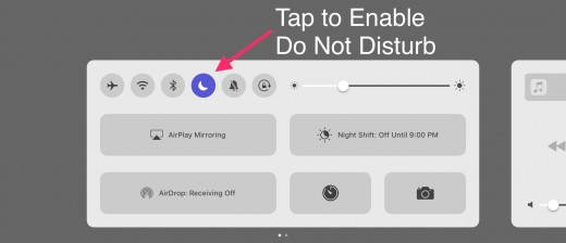 When the moon icon is highlighted, Do Not Disturb is turned on