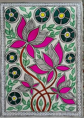 Colourful flowers and leaves in Madhubani paintings