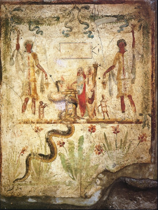 An ancient depiction on a wall in Pompeii shows a serpent which is the Greek household spirit.