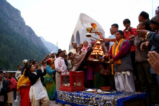 Worshiping the sacred river Ganga at Gangotri