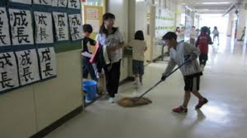 Kids learn working and cleaning techniques while Japan saves money on having to hire custodians.