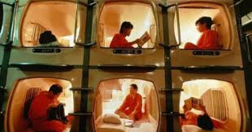 In Japan, the people save money by renting these tiny sleeping quarters.