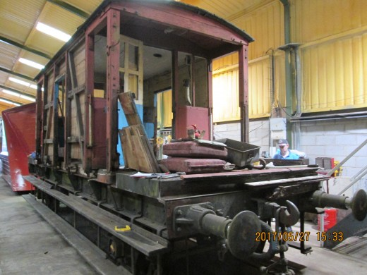 The body shell of this Ashford (Kent) BR standard brakevan awaits attention in the North Yorkshire Moors Railway workshop near New Bridge level crossing north of Pickering