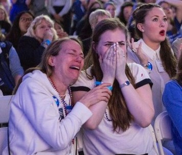 Clinton supporters literally broke down in tears at hearing the news of Donald Trump winning the 2016 Presidential election