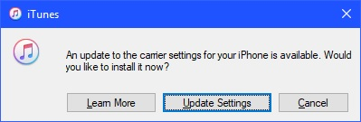 "Click ""Update Settings"" if prompted to update the carrier settings for your device."