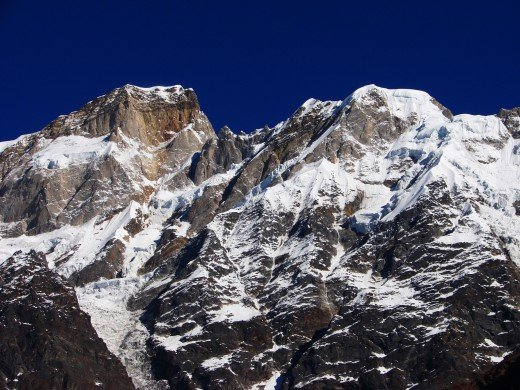 Kedarnath peak on the left & Kedarnath Dome on the right.