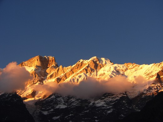 The Golden moment : Kedarnath mountains at sunset.