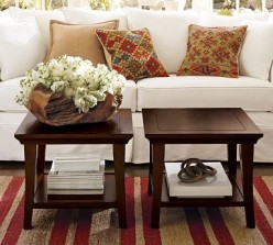 Wood square coffee tables by Pottery Barn