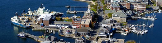 Several of the 219 buildings of Ocean Research in Woods Hole