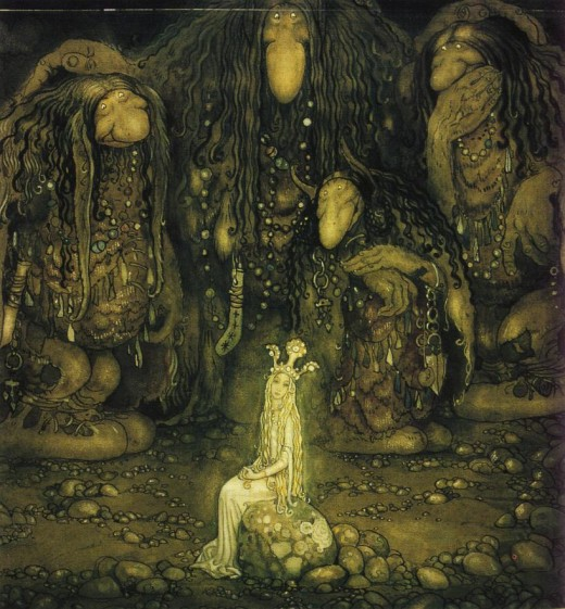 Trolls gathered 'round a fairy lady. Trolls are probably remnants of land spirits in Scandinavian lore.