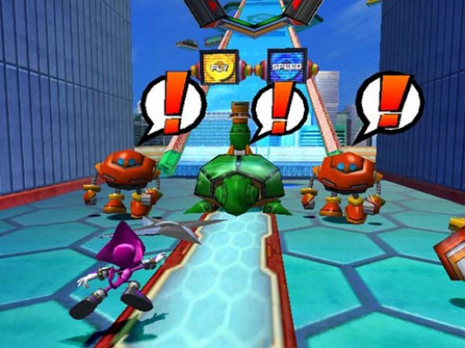 Espio, solo, throwing shurikens in Sonic Heroes.