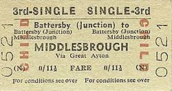 Pre-Nationaliation Child 3rd Class Single priced elevenpence-ha'penny (currently a fraction under 6p, for a journey to Middlesbrough by way of Great Ayton, Nunthorpe and Ormesby),