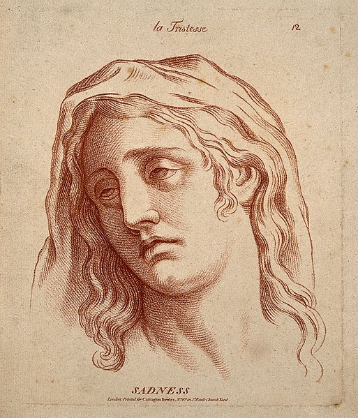 A woman whose face expresses  sadness. Etching in the crayon.
