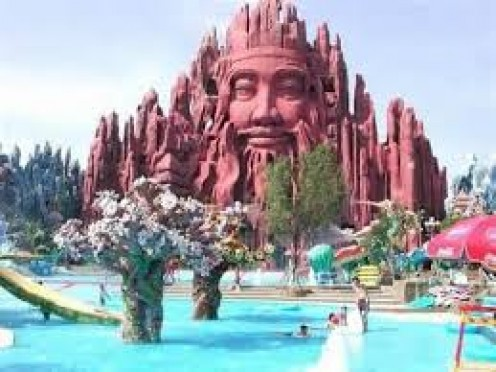 The Buddha inspired water park is located in the Republic of Vietnam.