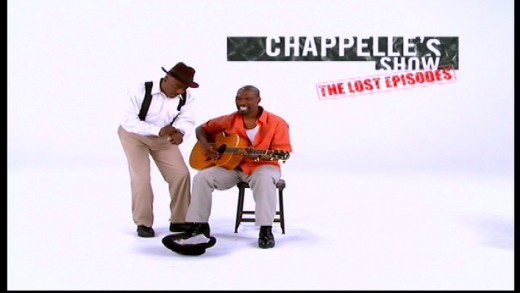 Donnell Rawlings and Charlie Murphy impersonating the musicians from the opening credits of Seasons 1 & 2. Image copyright of Comedy Partners.