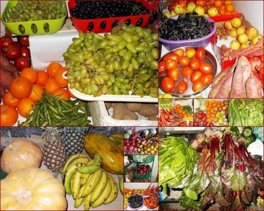 Our week's food: a  variety of seasonal, colorful and fruits and vegetables