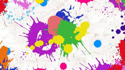 A splatter of paint colors.