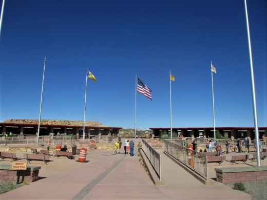 The Four Corners Monument (which touches four states) attracts visitors from far and wide, photo by author