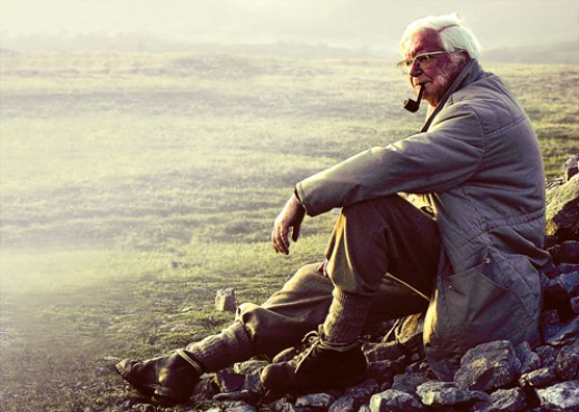 The late great Alfred Wainwright at rest high in the Lakes. With his books and TV coverage he went a long way to publicising his walks - the area fell victim to its own popularity