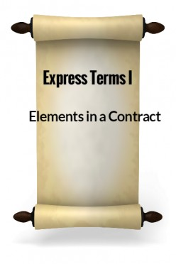 Elements in a Contract VII - Express Terms I
