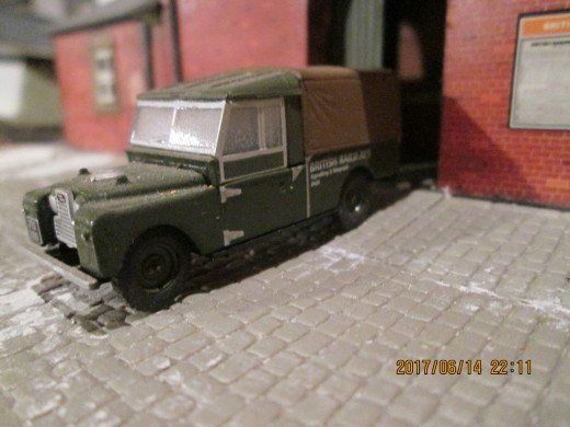 "Land Rover Series II again, long wheelbase (109"") this time, lineside signalling engineers"