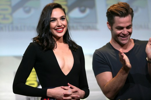 "Gal Gadot (left) and Chris Pine (right) promoting the ""Wonder Woman"" film at the 2016 San Diego Comic Con."