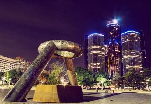Detroit at night.